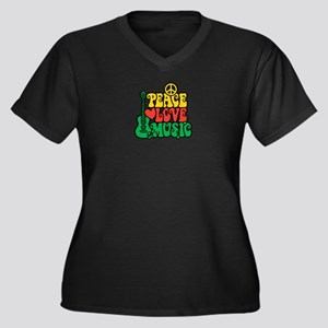 Reggae Peace Love Music Plus Size T-Shirt