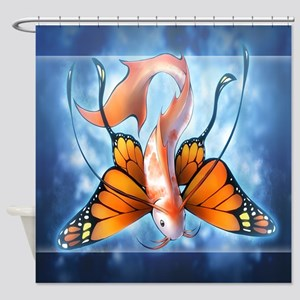 Butterfly Koi Fish Shower Curtain