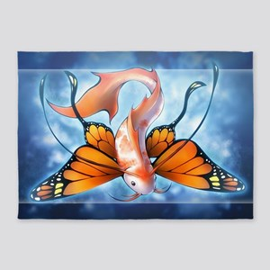 Butterfly Koi Fish 5'x7'Area Rug