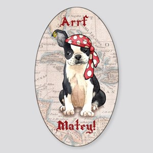 Boston Terrier Pirate Oval Sticker