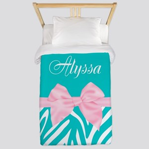 Teal Pink Bow Zebra Personalized Twin Duvet