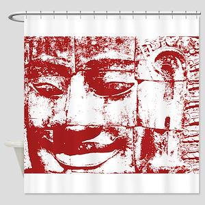 Khmer Stone Face Shower Curtain