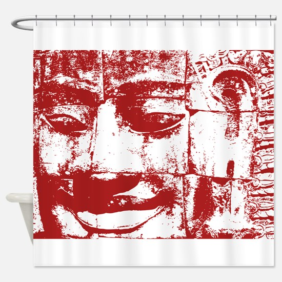 Khmer Stone Face Shower Curtain