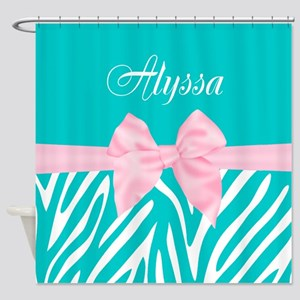 Teal Pink Bow Zebra Personalized Shower Curtain