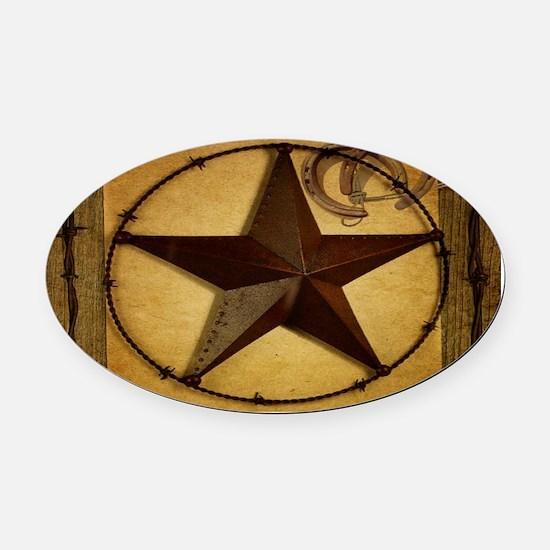 barn wood texas star western fashion Oval Car Magn