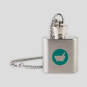 Aqua circle mortar and pestle Flask Necklace