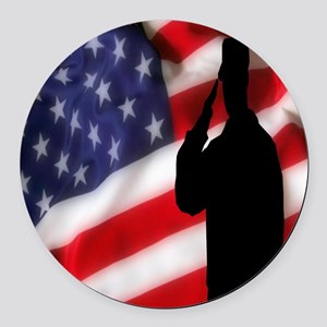 Stand For Our Flag Round Car Magnet