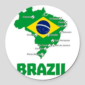Brazil Soccer 2014 Round Car Magnet