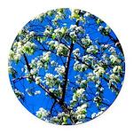 Snow Flowers Round Car Magnet
