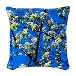 Snow Flowers Woven Throw Pillow