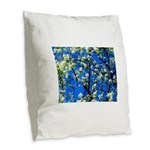 Snow Flowers Burlap Throw Pillow