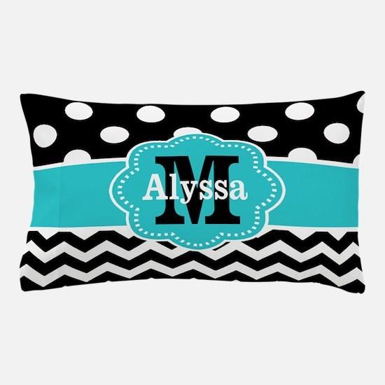 Blue Black Chevron Dots Personalized Pillow Case