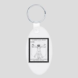 Vitruvian Man, Leonardo da  Aluminum Oval Keychain
