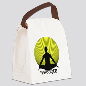 Namaste-Yellow-Br Canvas Lunch Bag