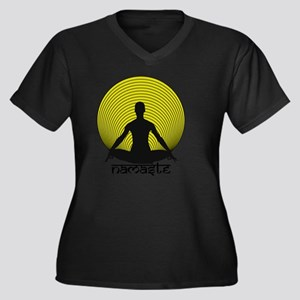 Namaste-Yell Women's Plus Size V-Neck Dark T-Shirt