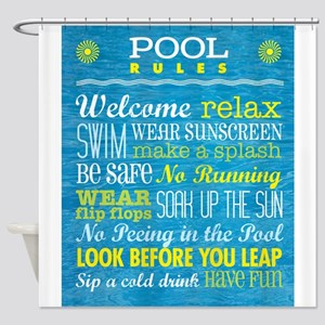 Rules for the Pool Shower Curtain