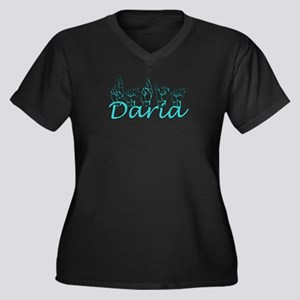Daria Women's Plus Size V-Neck Dark T-Shirt