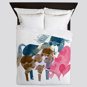 Colorful Pinto Mare and Foal Queen Duvet