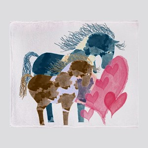 Colorful Pinto Mare and Foal Throw Blanket