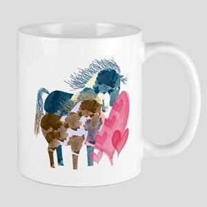 Colorful Pinto Mare and Foal Mugs