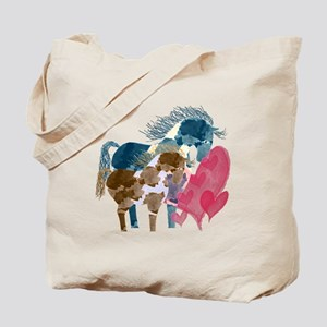 Colorful Pinto Mare and Foal Tote Bag