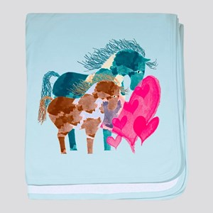 Colorful Pinto Mare and Foal baby blanket