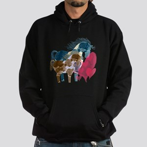 Colorful Pinto Mare and Foal Hoodie