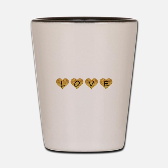 love gold glitter hearts Shot Glass