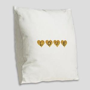 love gold glitter hearts Burlap Throw Pillow