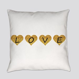 love gold glitter hearts Everyday Pillow