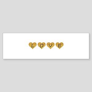 love gold glitter hearts Bumper Sticker