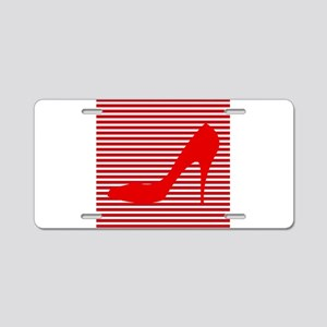 Red High Heels on Red and White Stripes Aluminum L