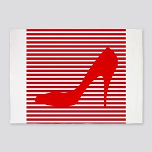 Red High Heels on Red and White Stripes 5'x7'Area
