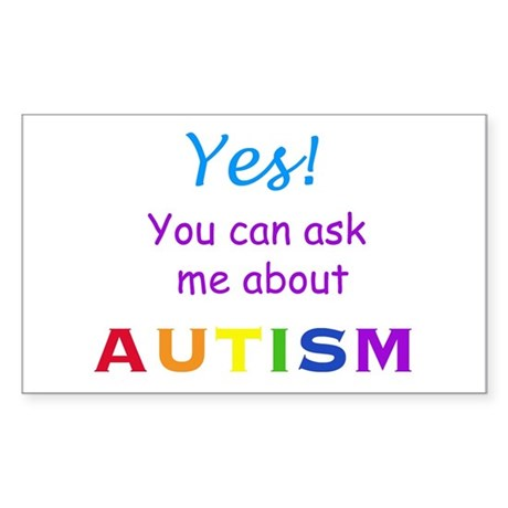 Ask Me About Autism! Rectangle Sticker