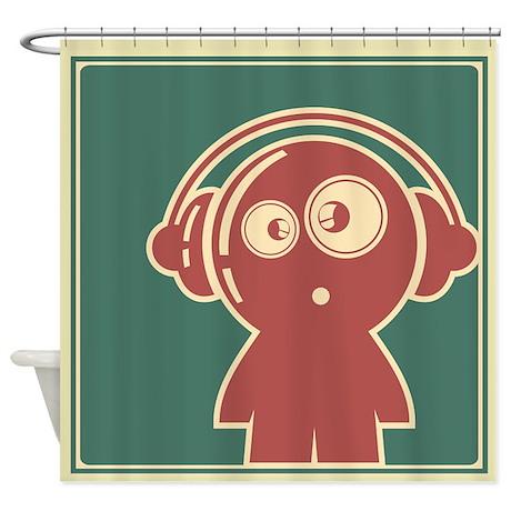 Retro Beat Boy Shower Curtain