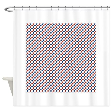 red white and blue polka dots shower curtain by clipartmegamart. Black Bedroom Furniture Sets. Home Design Ideas