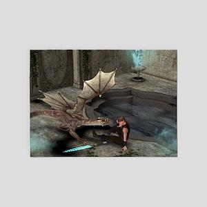 Dragon with his companion 5'x7'Area Rug
