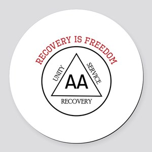 RECOVERY IS FREEDOM Round Car Magnet