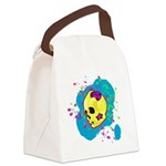 Painted Skull Canvas Lunch Bag