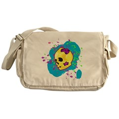 Painted Skull Messenger Bag