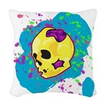 Painted Skull Woven Throw Pillow