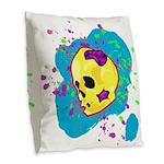 Painted Skull Burlap Throw Pillow