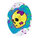 Painted Skull Ornament (Oval)