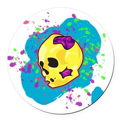 Painted Skull Round Car Magnet