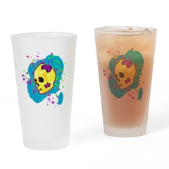 Painted Skull Drinking Glass