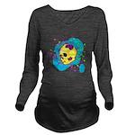 Painted Skull Long Sleeve Maternity T-Shirt