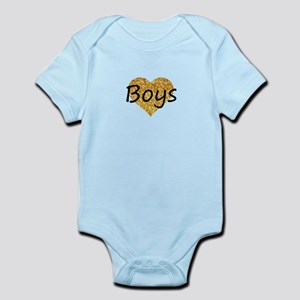 boys gold glitter heart Body Suit