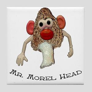 Mr. morel head morel hunting  Tile Coaster