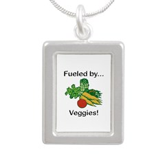 Fueled by Veggies Silver Portrait Necklace