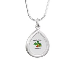 Fueled by Veggies Silver Teardrop Necklace